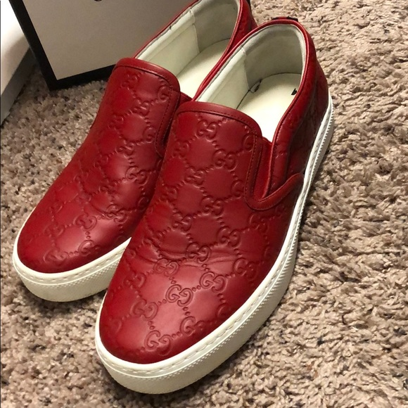 Gucci Shoes | Red Gucci Dublin Slip Ons